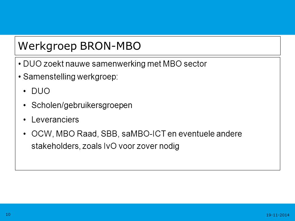 Werkgroep BRON-MBO DUO zoekt nauwe samenwerking met MBO sector