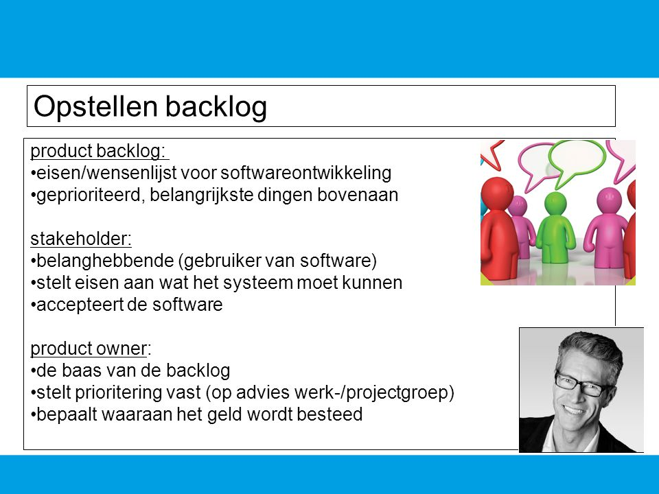 Opstellen backlog product backlog: