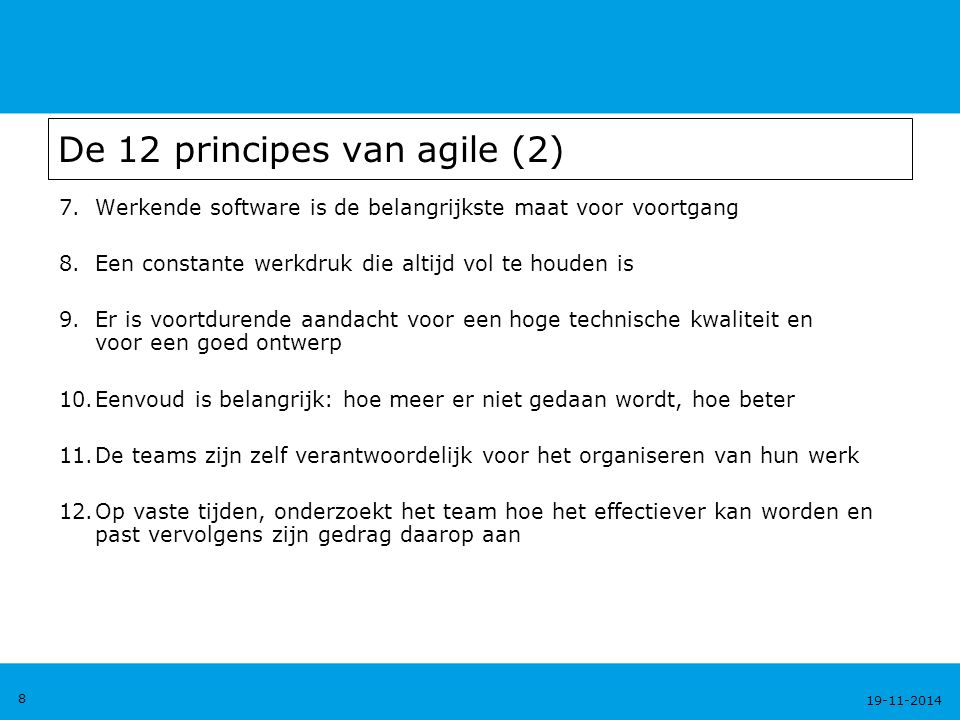 De 12 principes van agile (2)