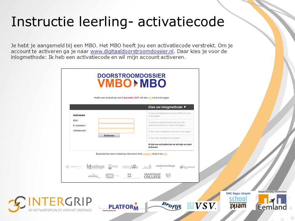 Instructie leerling- activatiecode