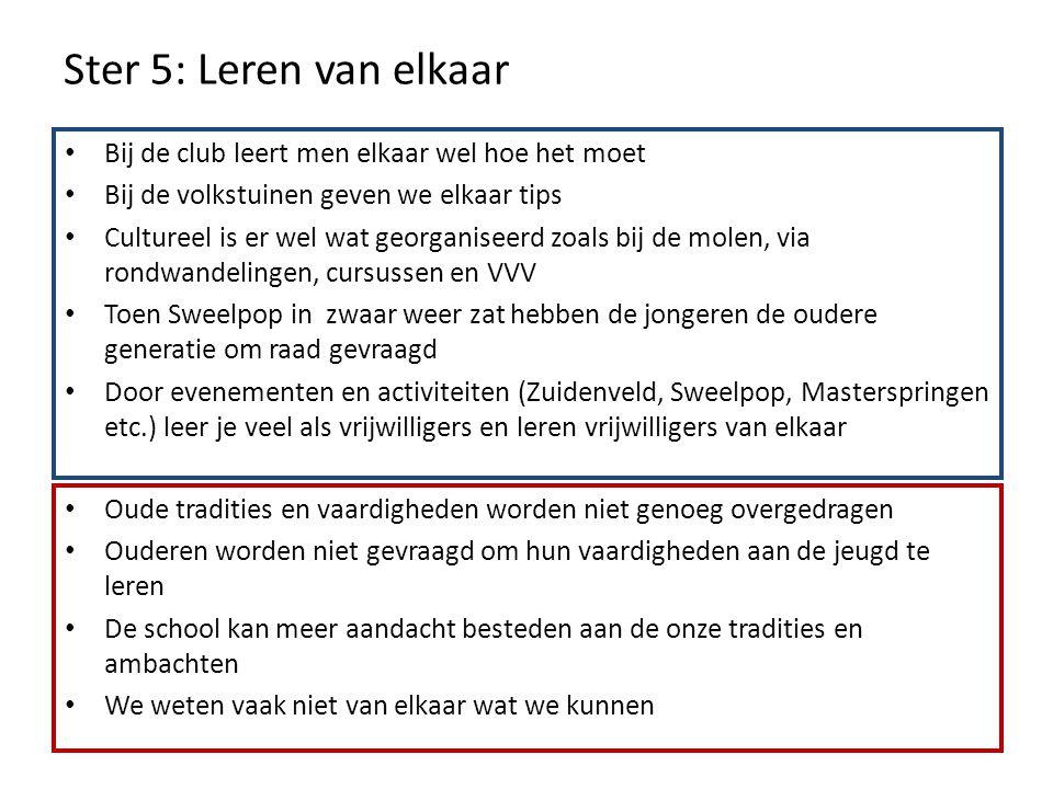 Ster 5: Leren van elkaar Bij de club leert men elkaar wel hoe het moet