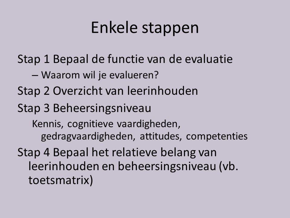 Enkele stappen Stap 1 Bepaal de functie van de evaluatie