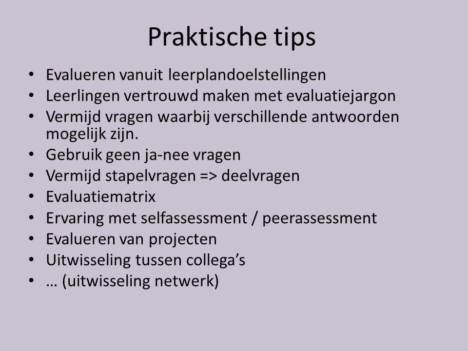 Praktische tips Evalueren vanuit leerplandoelstellingen