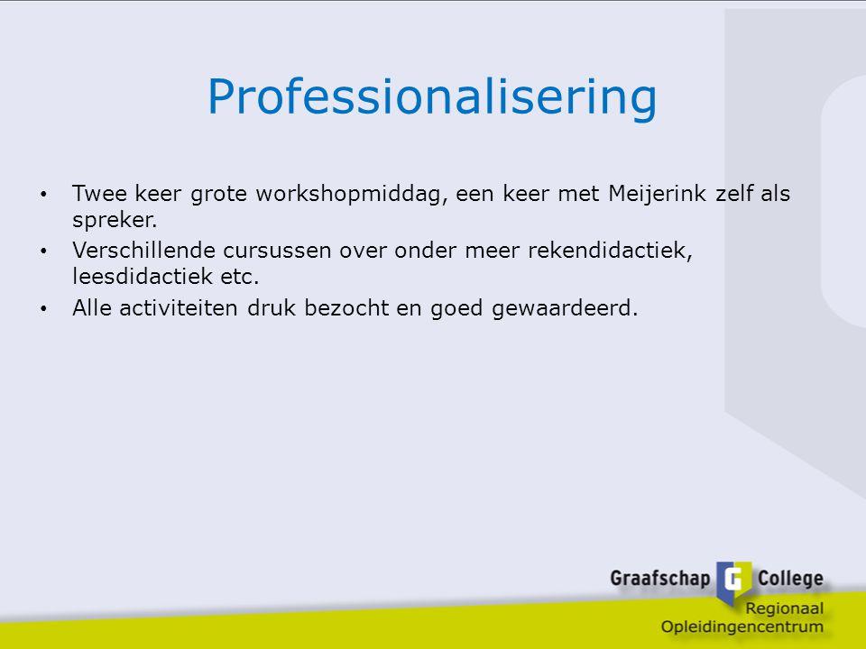 Professionalisering Twee keer grote workshopmiddag, een keer met Meijerink zelf als spreker.