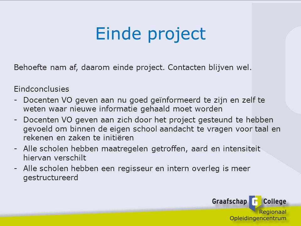 Einde project Behoefte nam af, daarom einde project. Contacten blijven wel. Eindconclusies.