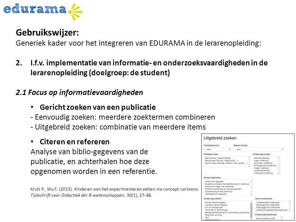 Gebruikswijzer: Generiek kader voor het integreren van EDURAMA in de lerarenopleiding: