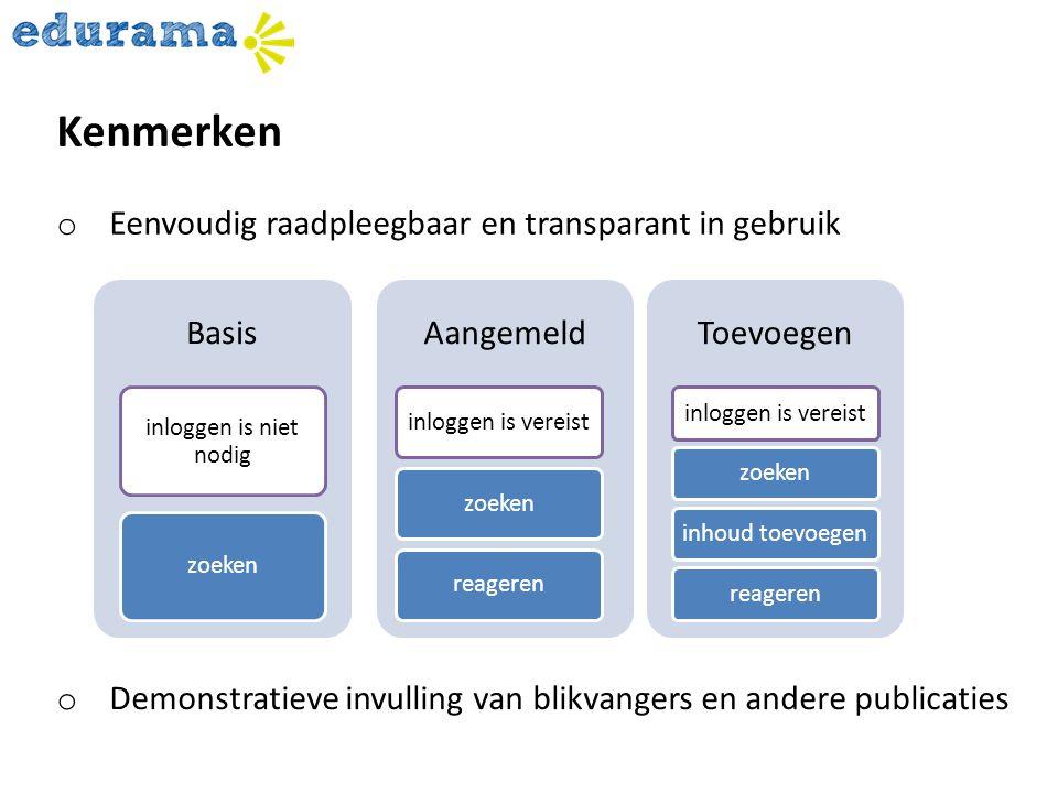 Kenmerken Eenvoudig raadpleegbaar en transparant in gebruik Basis