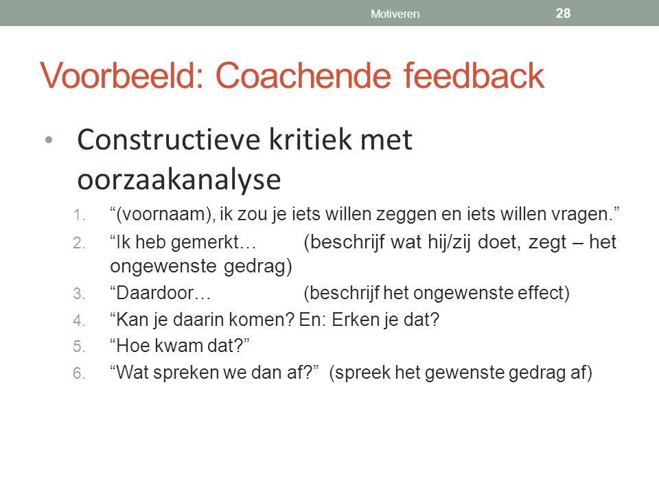 Voorbeeld: Coachende feedback