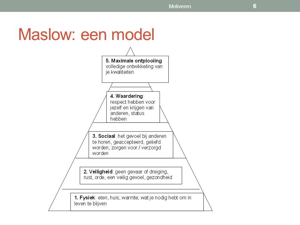 Maslow: een model Motiveren