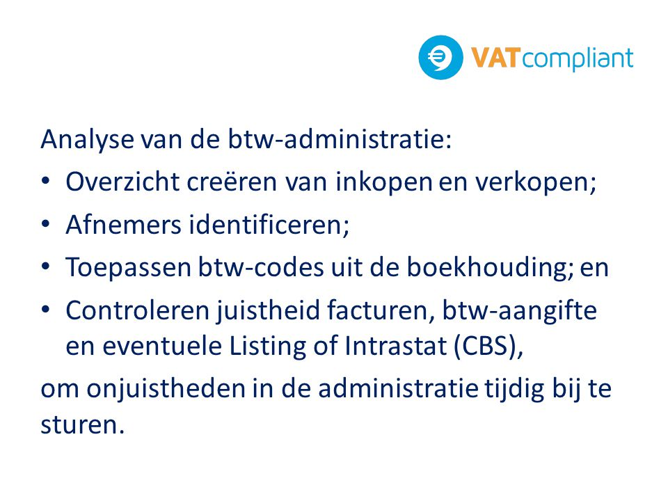 Analyse van de btw-administratie: