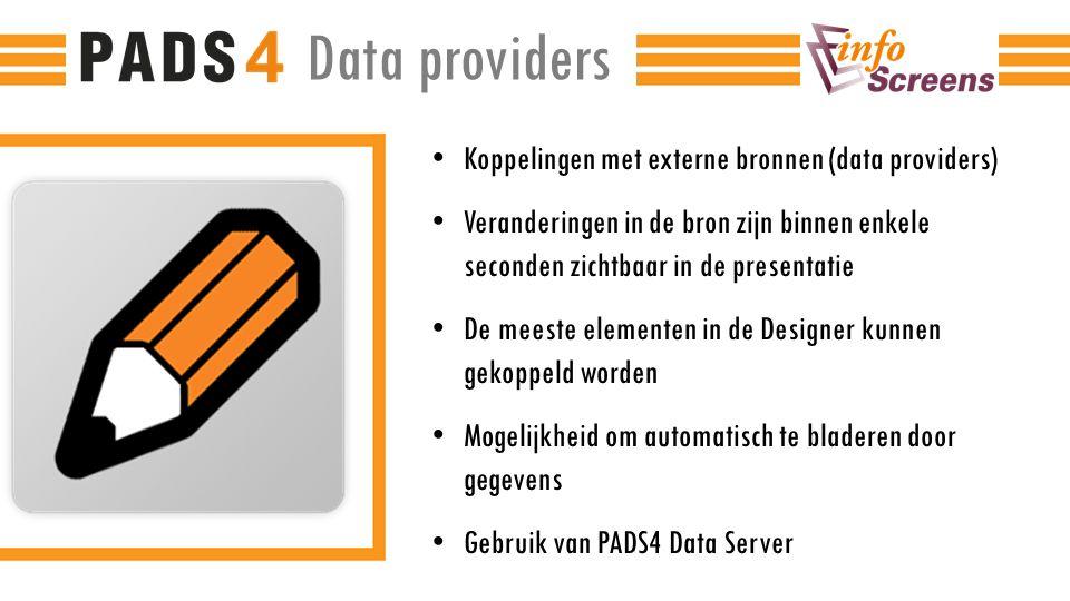 Data providers Koppelingen met externe bronnen (data providers)