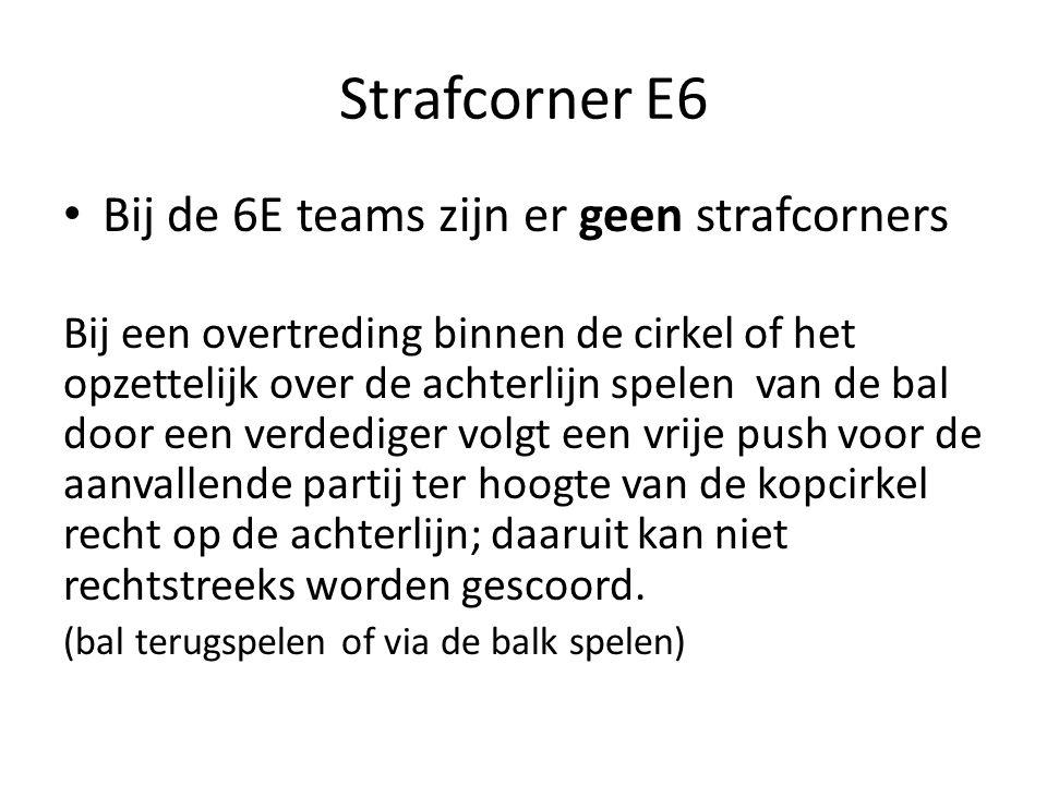 Strafcorner E6 Bij de 6E teams zijn er geen strafcorners