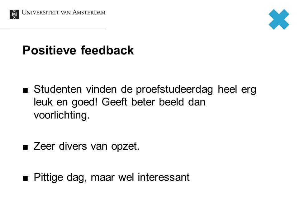 Positieve feedback Studenten vinden de proefstudeerdag heel erg leuk en goed! Geeft beter beeld dan voorlichting.
