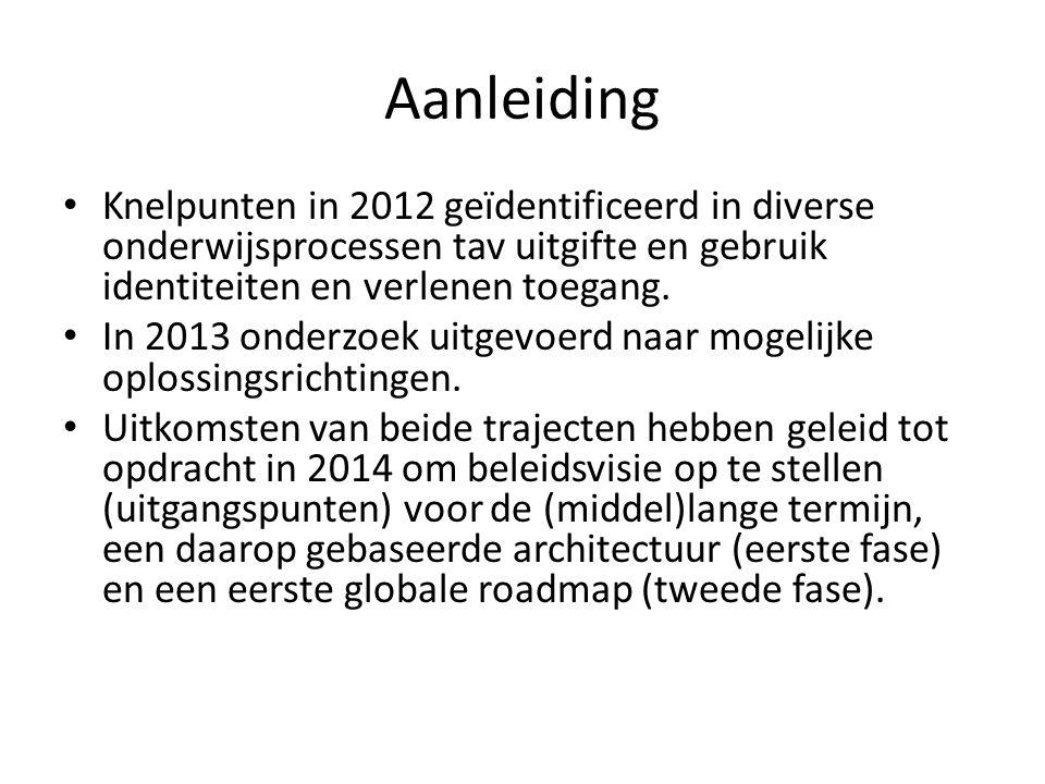 Aanleiding Knelpunten in 2012 geïdentificeerd in diverse onderwijsprocessen tav uitgifte en gebruik identiteiten en verlenen toegang.