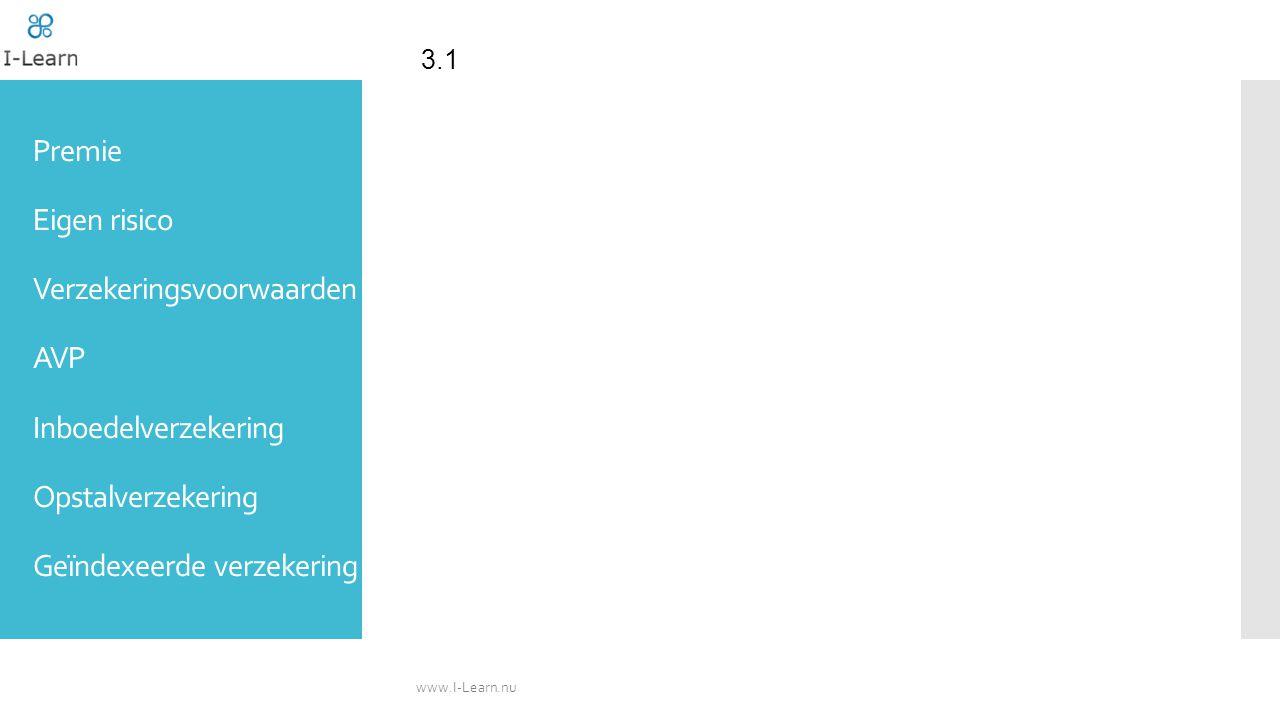 3.1 Premie Eigen risico Verzekeringsvoorwaarden AVP Inboedelverzekering Opstalverzekering Geïndexeerde verzekering.