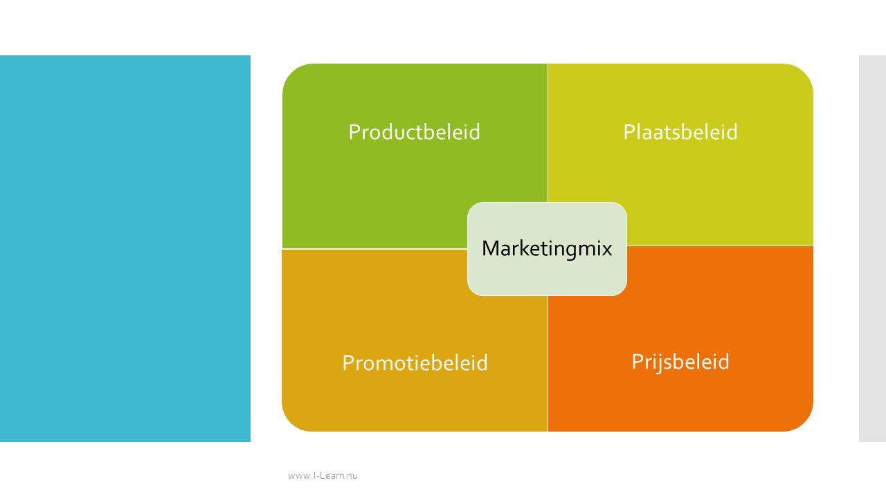 www.I-Learn.nu Marketingmix Productbeleid Plaatsbeleid Promotiebeleid
