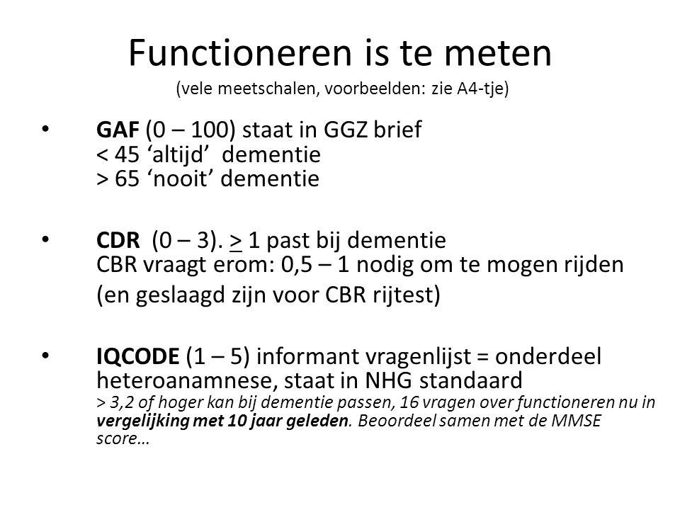 Functioneren is te meten (vele meetschalen, voorbeelden: zie A4-tje)