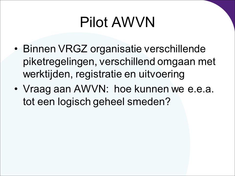 Pilot AWVN Binnen VRGZ organisatie verschillende piketregelingen, verschillend omgaan met werktijden, registratie en uitvoering.