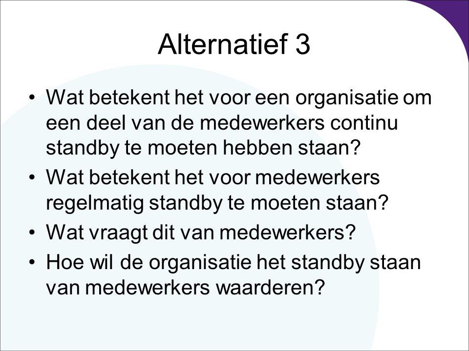Alternatief 3 Wat betekent het voor een organisatie om een deel van de medewerkers continu standby te moeten hebben staan