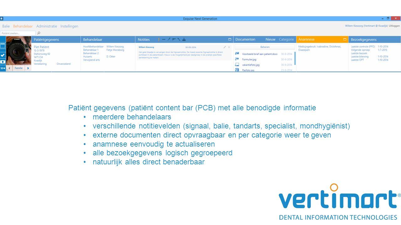 Patiënt gegevens (patiënt content bar (PCB) met alle benodigde informatie