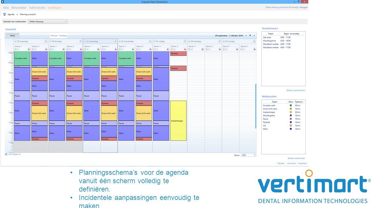 Planningsschema's voor de agenda vanuit één scherm volledig te definiëren.