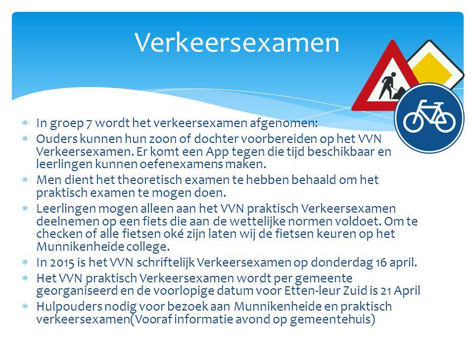 Verkeersexamen In groep 7 wordt het verkeersexamen afgenomen: