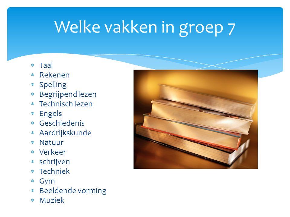Welke vakken in groep 7 Taal Rekenen Spelling Begrijpend lezen