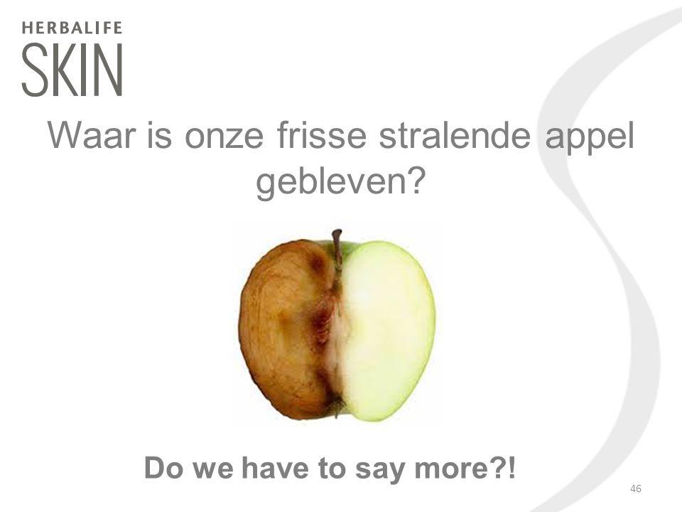 Waar is onze frisse stralende appel gebleven