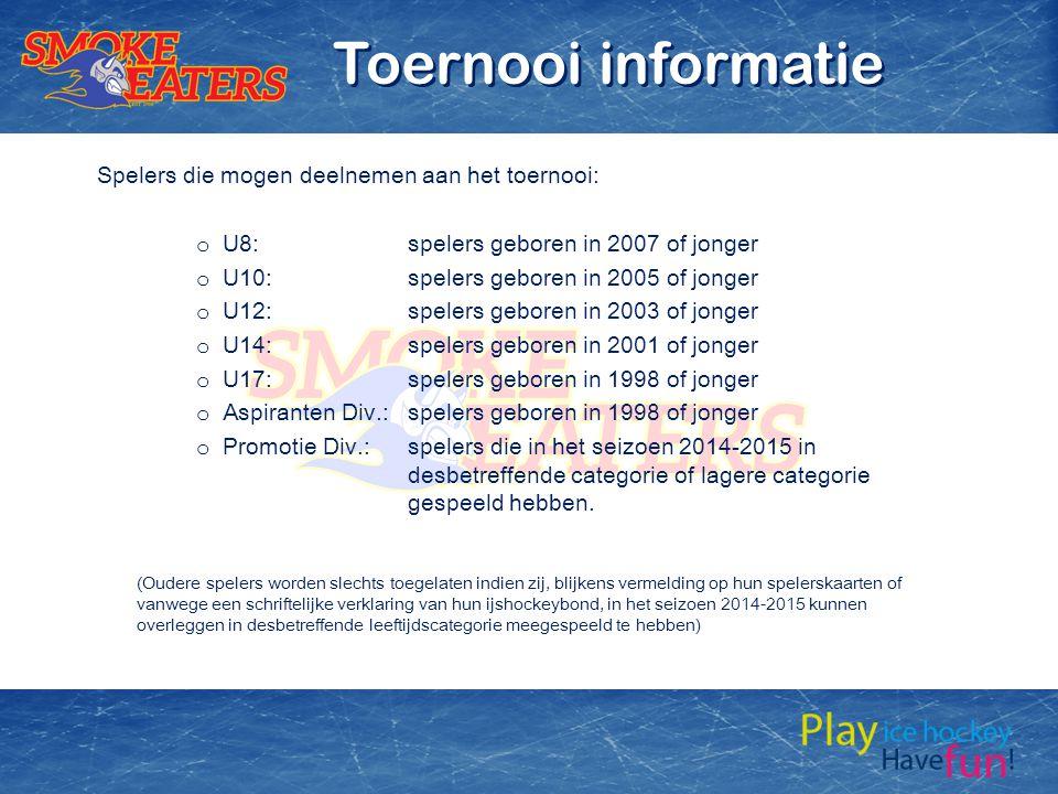 Toernooi informatie Spelers die mogen deelnemen aan het toernooi: