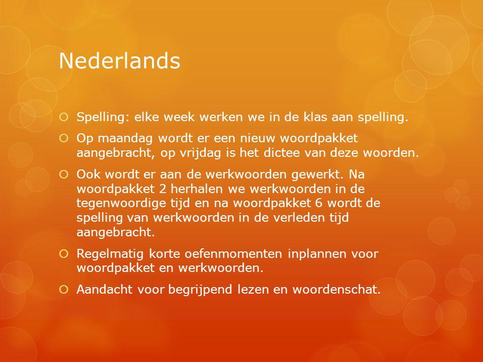 Nederlands Spelling: elke week werken we in de klas aan spelling.
