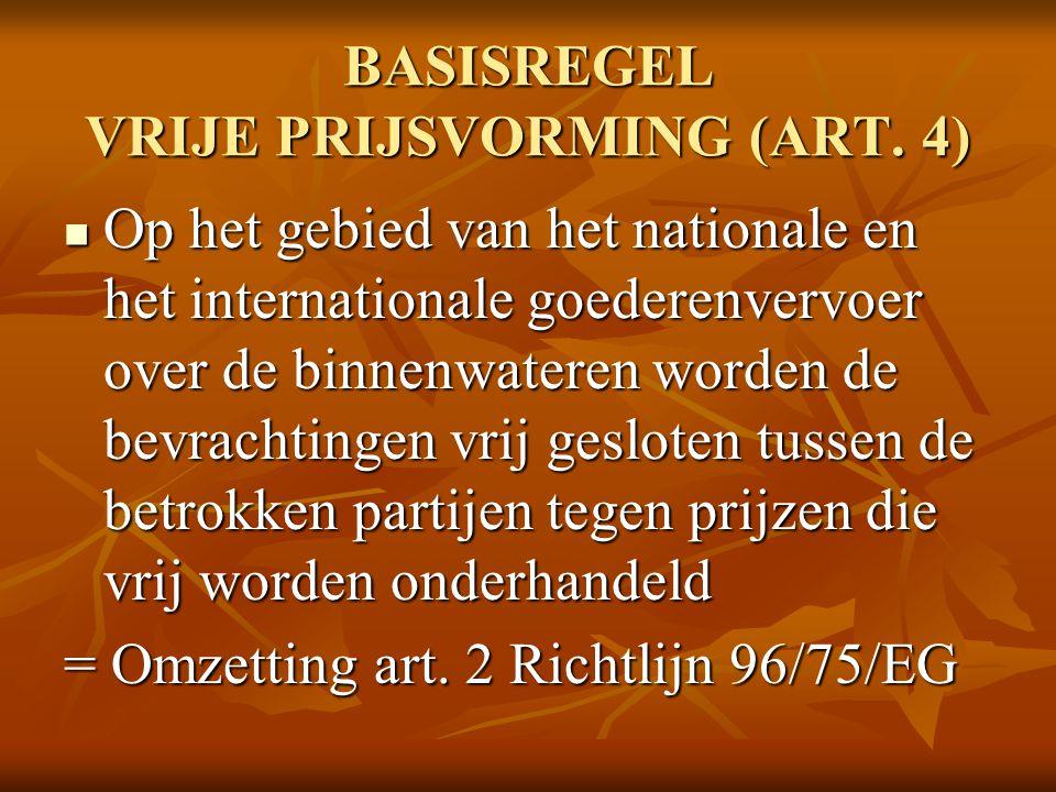 BASISREGEL VRIJE PRIJSVORMING (ART. 4)