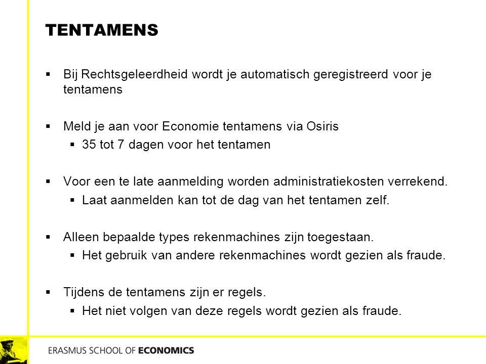 Tentamens Bij Rechtsgeleerdheid wordt je automatisch geregistreerd voor je tentamens. Meld je aan voor Economie tentamens via Osiris.