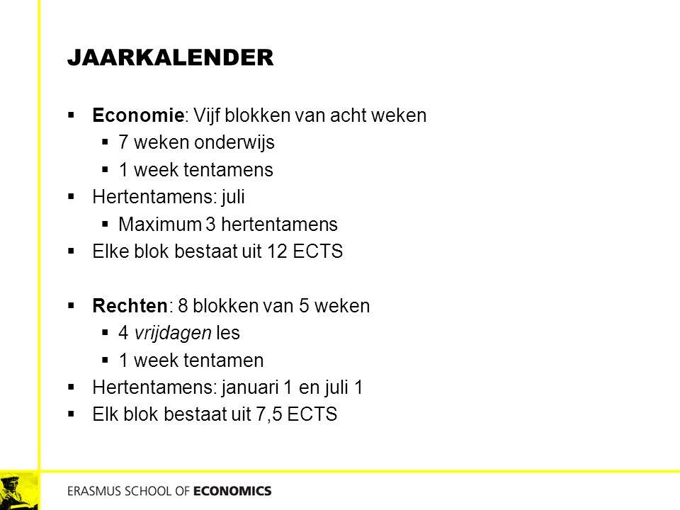 Jaarkalender Economie: Vijf blokken van acht weken 7 weken onderwijs