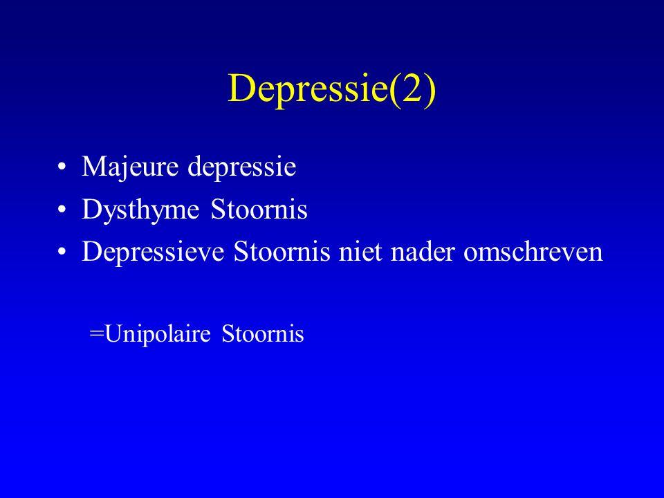 Depressie(2) Majeure depressie Dysthyme Stoornis