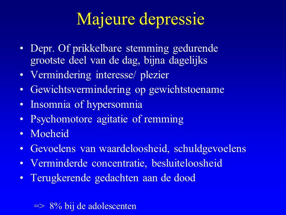 Majeure depressie Depr. Of prikkelbare stemming gedurende grootste deel van de dag, bijna dagelijks.