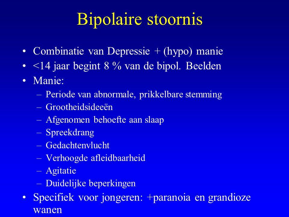 Bipolaire stoornis Combinatie van Depressie + (hypo) manie