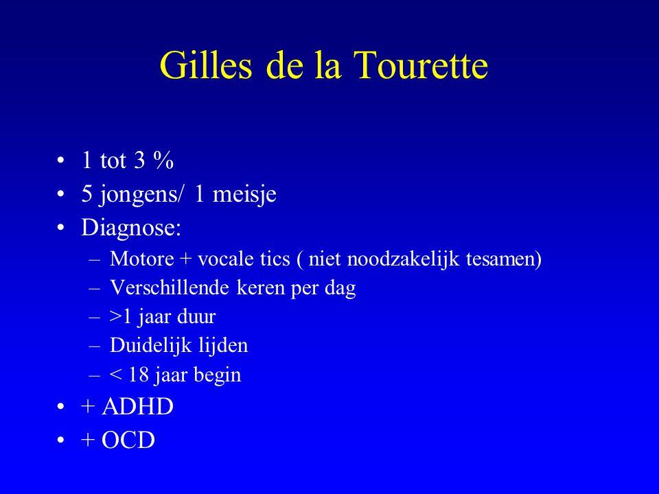 Gilles de la Tourette 1 tot 3 % 5 jongens/ 1 meisje Diagnose: + ADHD