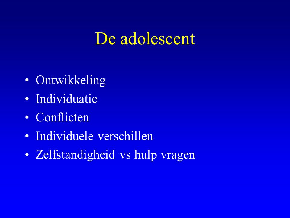 De adolescent Ontwikkeling Individuatie Conflicten