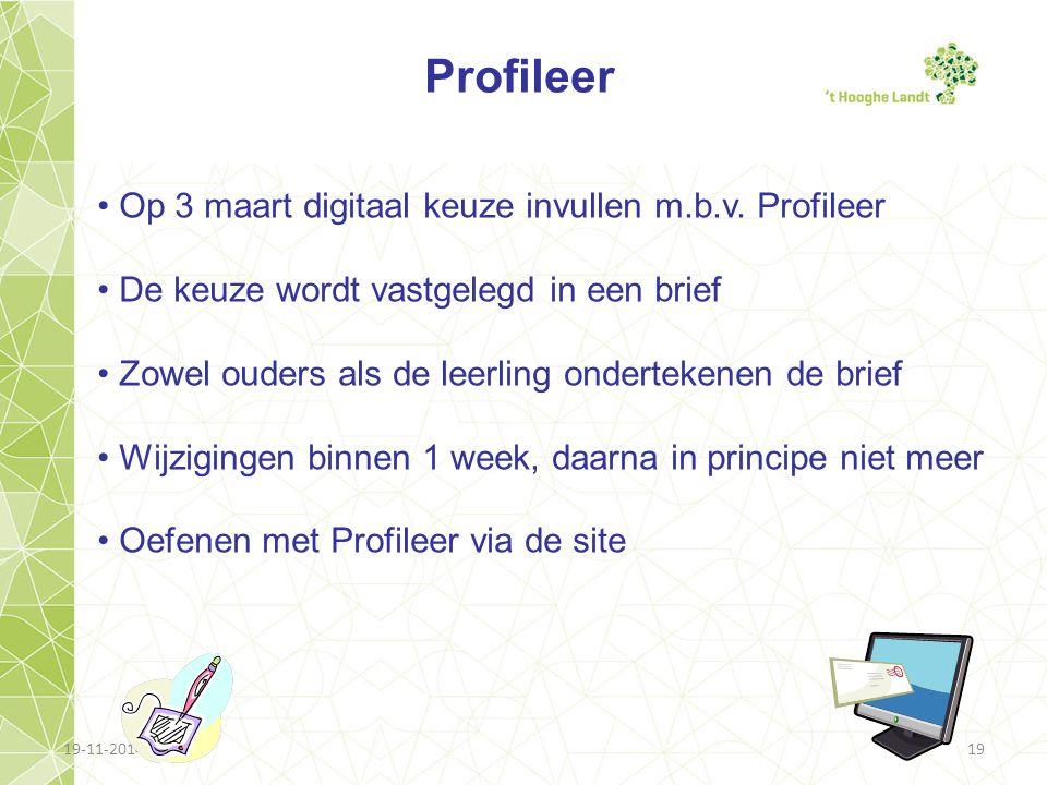 Profileer Op 3 maart digitaal keuze invullen m.b.v. Profileer