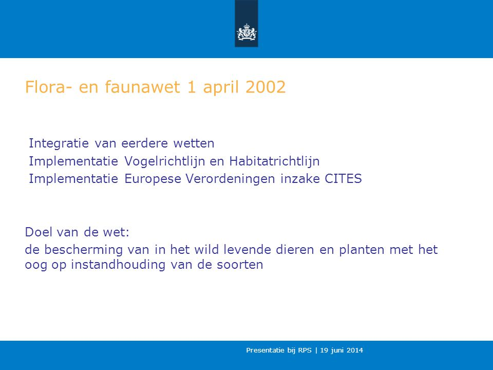 Flora- en faunawet 1 april 2002