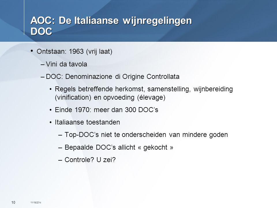 AOC: De Italiaanse wijnregelingen DOC