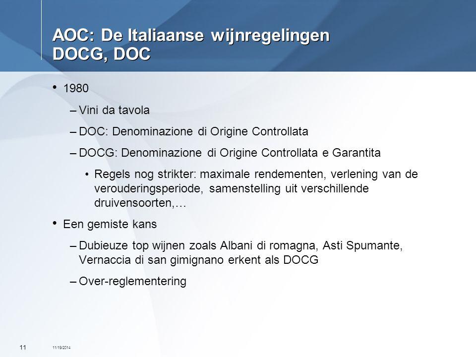 AOC: De Italiaanse wijnregelingen DOCG, DOC