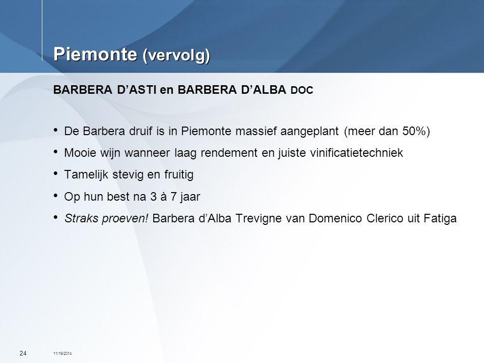 Piemonte (vervolg) BARBERA D'ASTI en BARBERA D'ALBA DOC