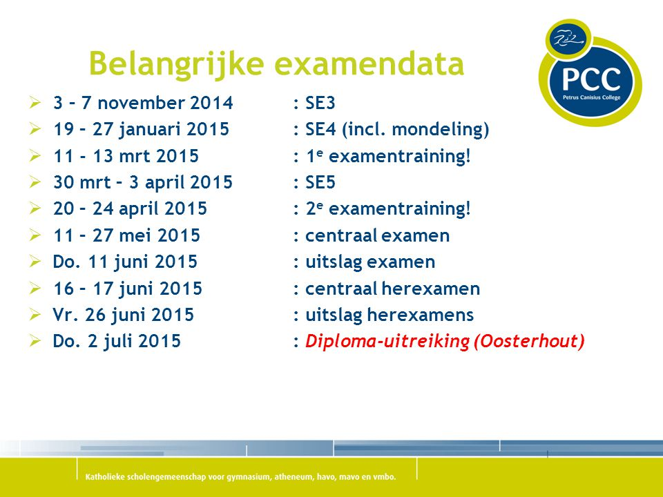 Belangrijke examendata
