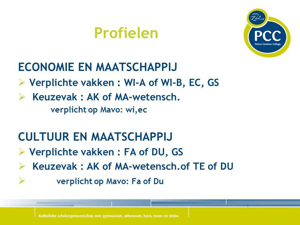 Profielen ECONOMIE EN MAATSCHAPPIJ CULTUUR EN MAATSCHAPPIJ