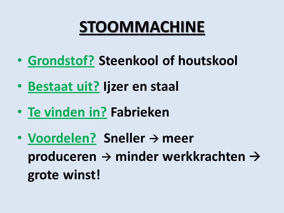 STOOMMACHINE Grondstof Steenkool of houtskool