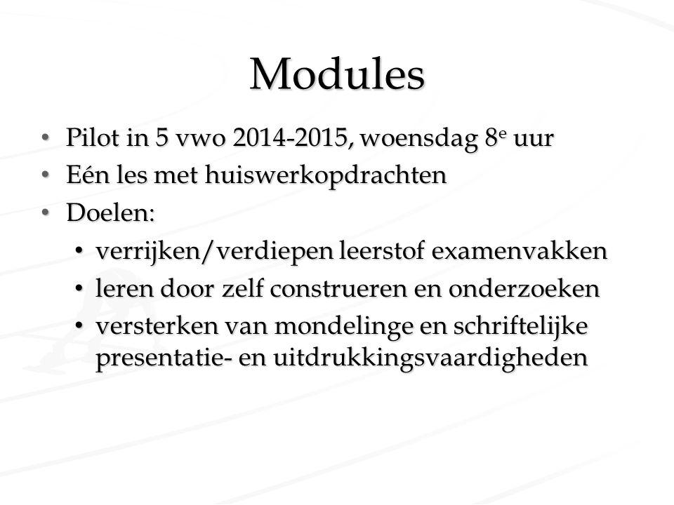 Modules Pilot in 5 vwo 2014-2015, woensdag 8e uur