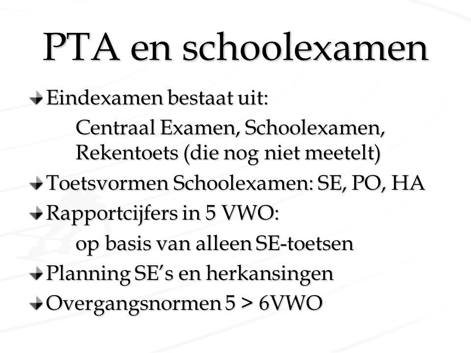 PTA en schoolexamen Eindexamen bestaat uit: