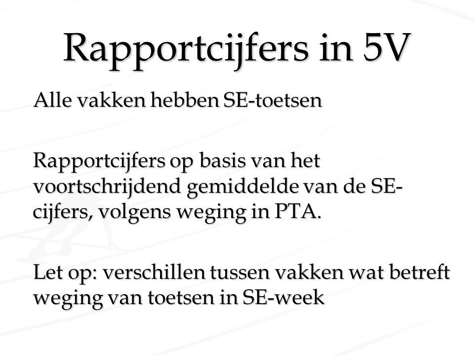 Rapportcijfers in 5V Alle vakken hebben SE-toetsen