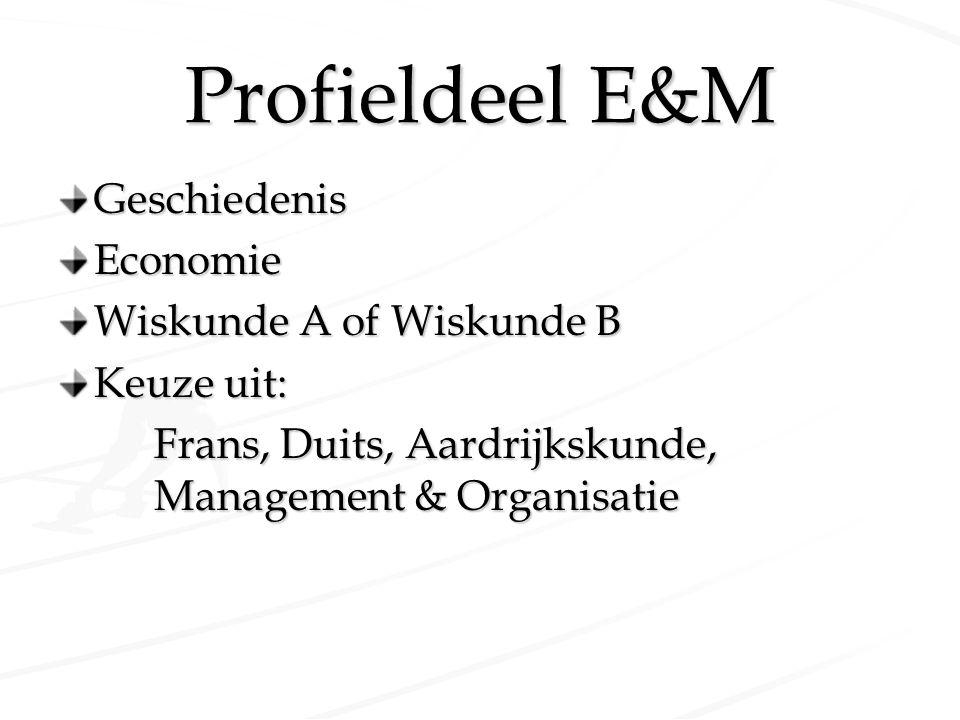 Profieldeel E&M Geschiedenis Economie Wiskunde A of Wiskunde B